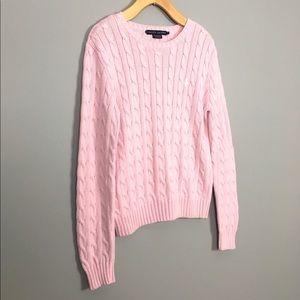 Ralph Lauren Cable Knit Crew Neck Cotton Sweater